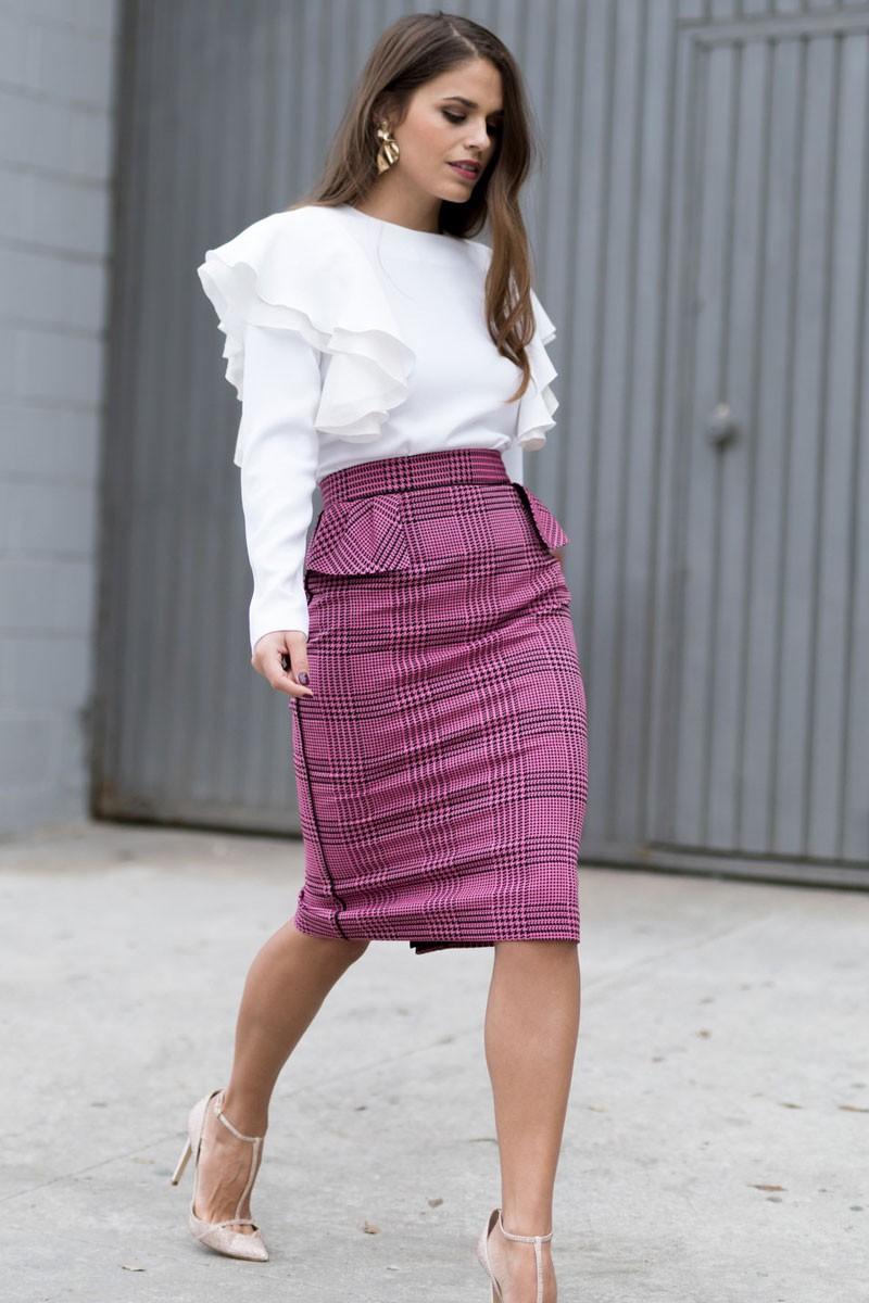 falda pata gallo rosa con volantes