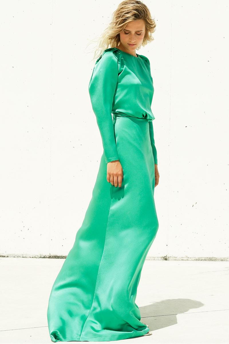 8d3ce0fa03f1e vestidos largos verde saten invitadas bodas fiestas nochevieja manga larga