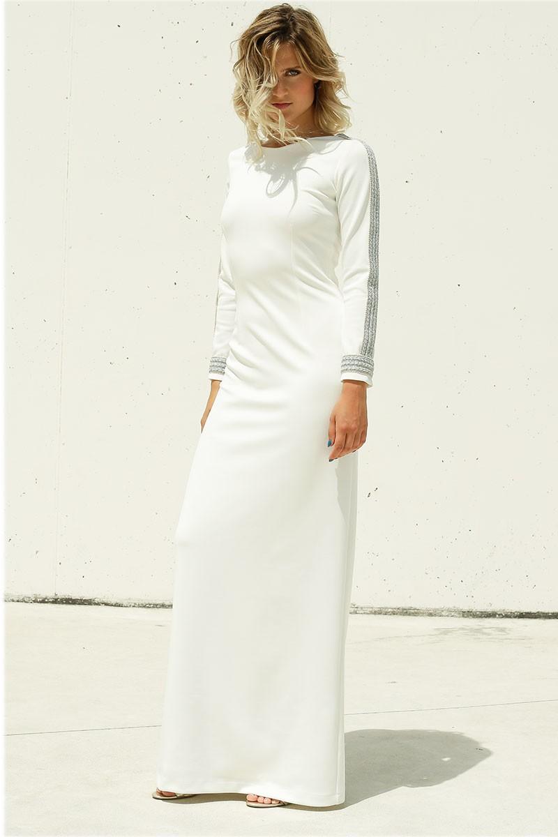 0ccdd9e9a4b4c vestido largo ajustado blanco neoprano manga larga cuerpo cerrado  pasamaneria lentejuelas hilos finos azul aguamarina plata
