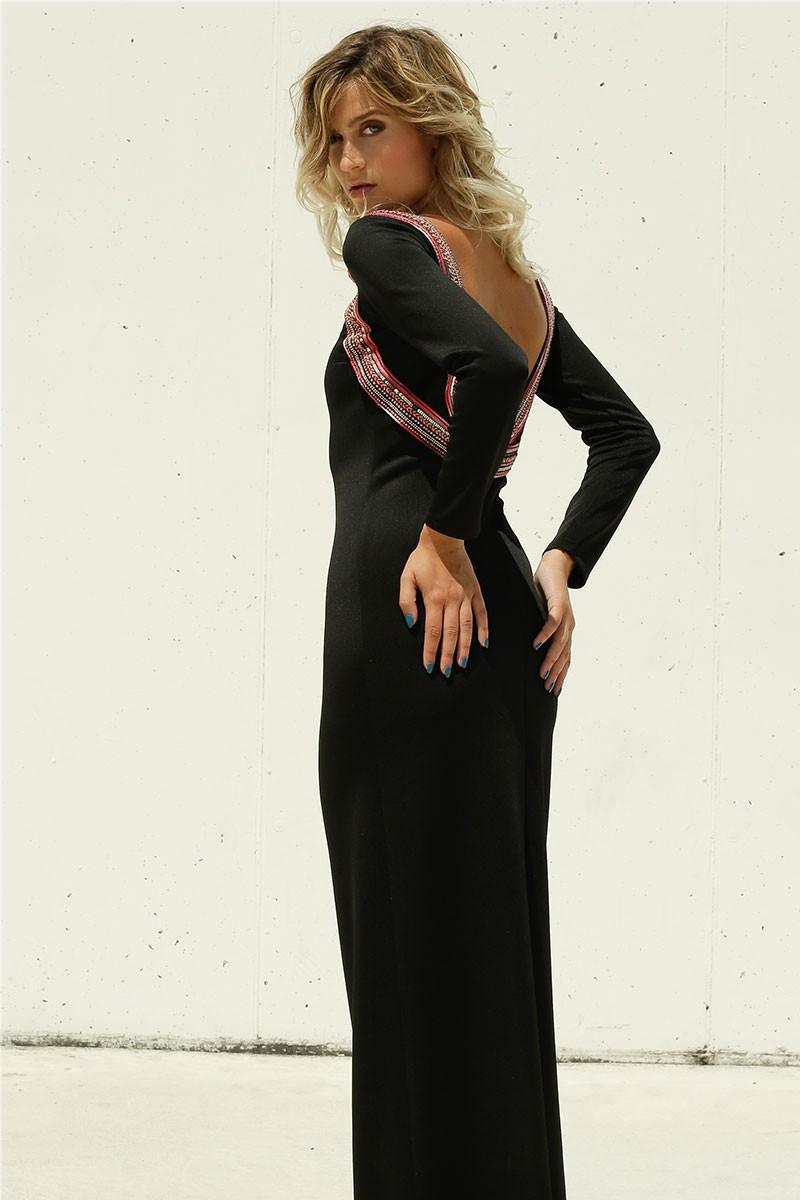 5085bcdb3e estidos largos blanco ajustados neoprano manga larga escote espalda pasamaneria  hilos lentejuelas en colores rojo rosa. vestido neopreno nochevieja negro  ...