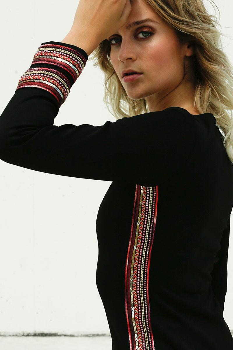 94edb69a49 ... manga larga cuello redondo pasamaneria hilos lentejuelas en colores  rojo rosa. vestido nochevieja negro corto neopreno ajustado pasamaneria  invitada ...