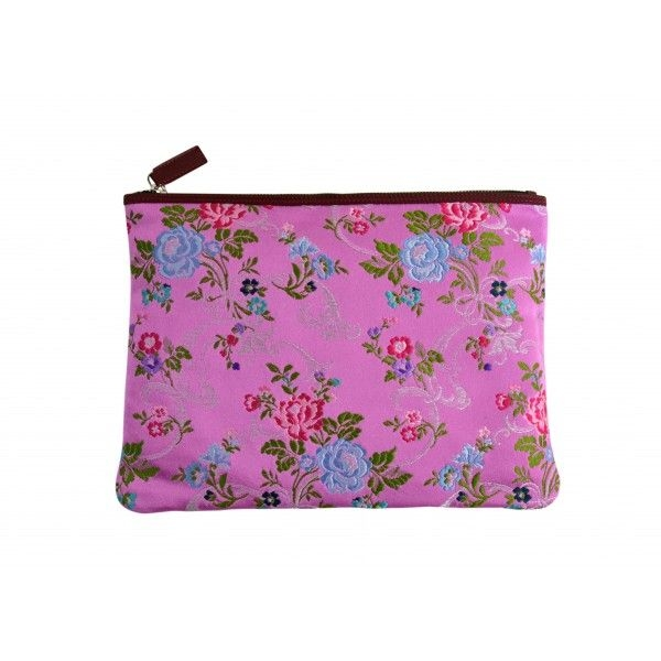 clutch rosa estampado flores bordadas carmen berdonces