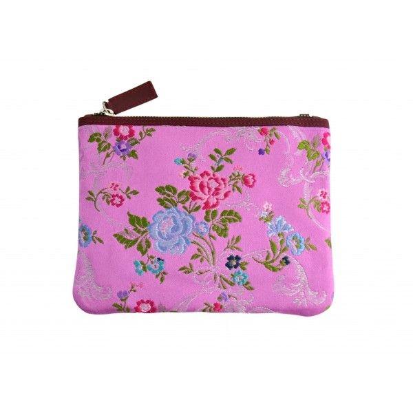 5ad2694a2 clutch rosa pequeño estampado flores bordadas en hilo y piel