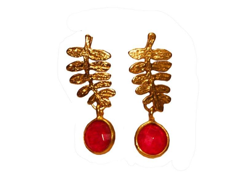 b491d326199b pendientes hojas con piedra natural roja joyas online 2enespiral