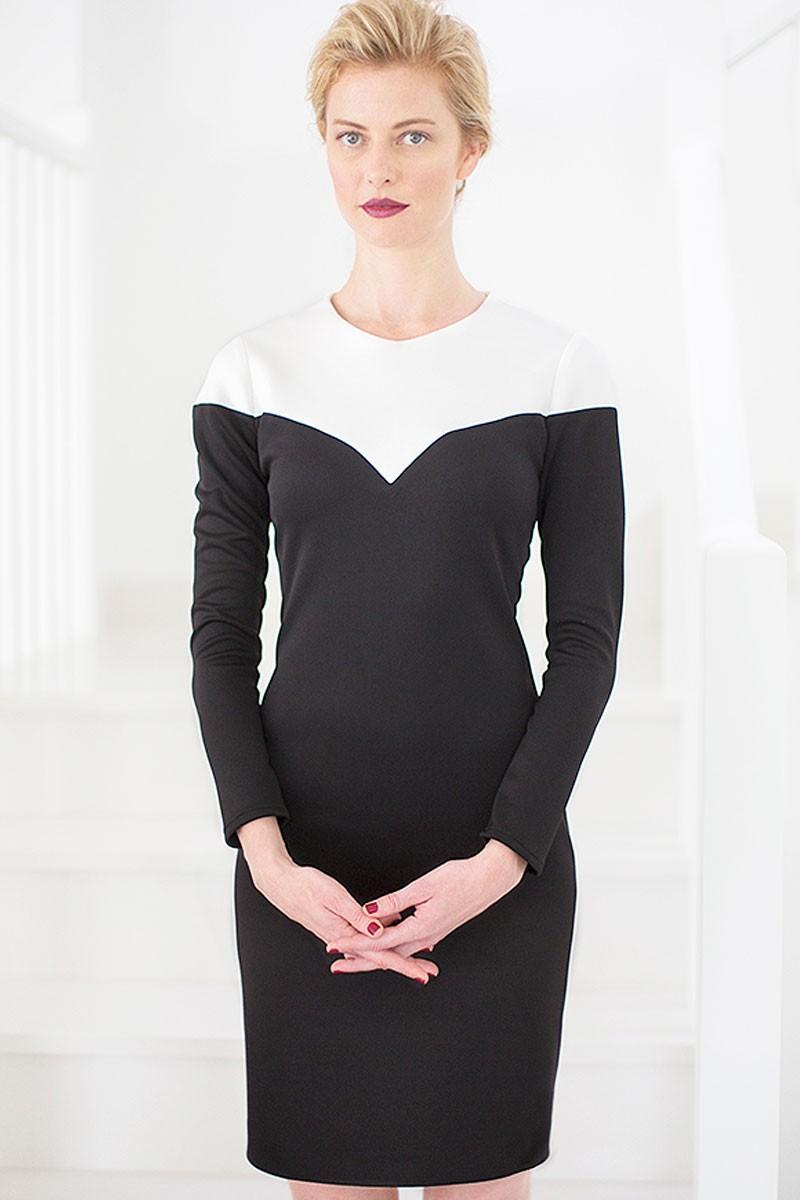 Vestido negro con blanco manga larga