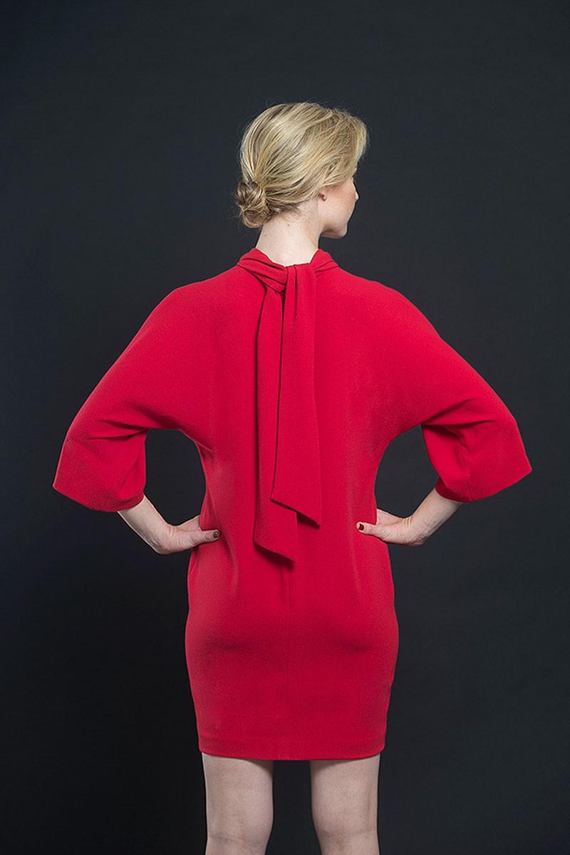 a3491c6e6 vestido corto rojo lazo trasero manga japonesa fiesta nochevieja boda evento  apparentia