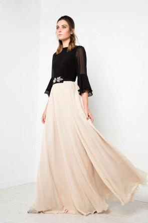 82f24aad47 vestido largo de fiesta con cuerpo de punto y bajo de gasa schiffon en color  negro