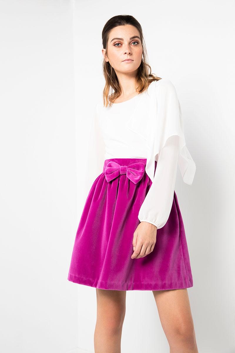 falda corta rosa terciopelo cintura fruncida