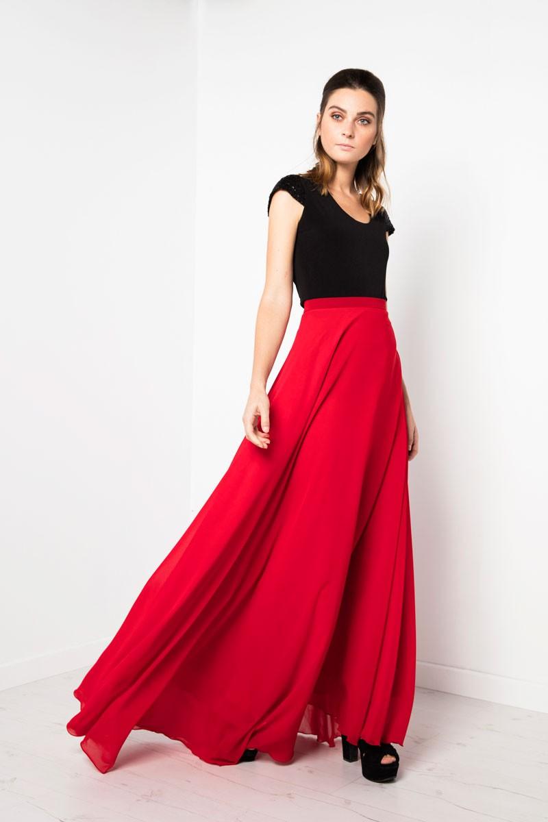 3254868af falda larga roja elegante fiesta evento especial nochevieja boda comunion  apparentia
