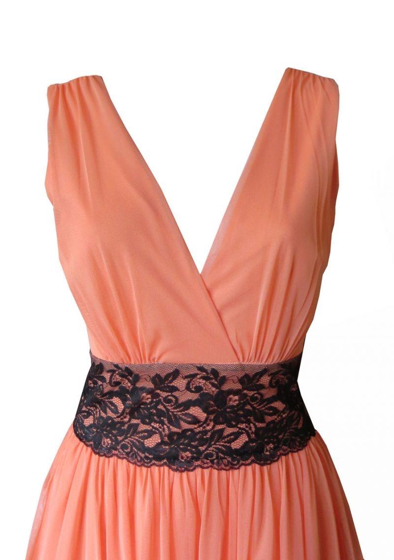 Vestido Con Falda De Tul Coral