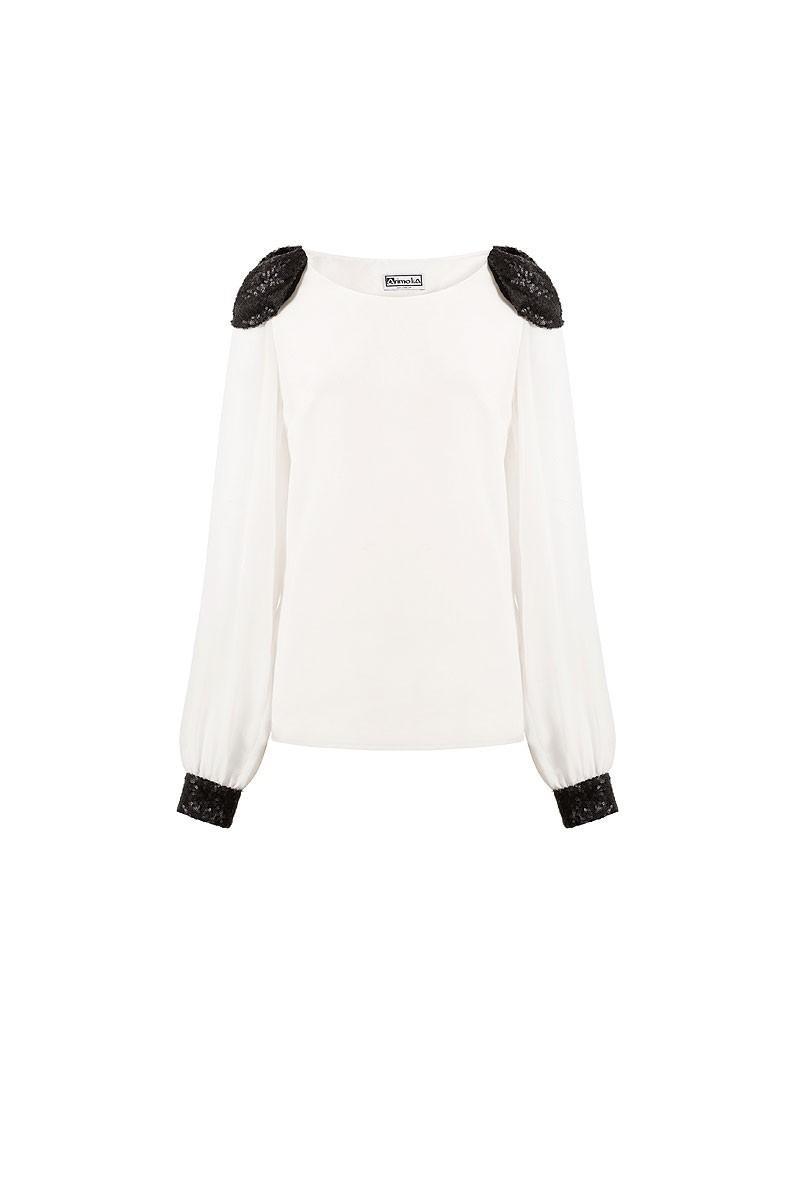 mejor online verse bien zapatos venta paquete de moda y atractivo Blusa Blanca Hombreras Lentejuelas Amparo