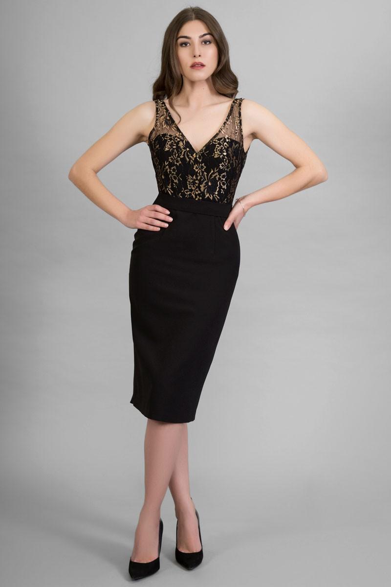 Vestido Negro Midi Encaje