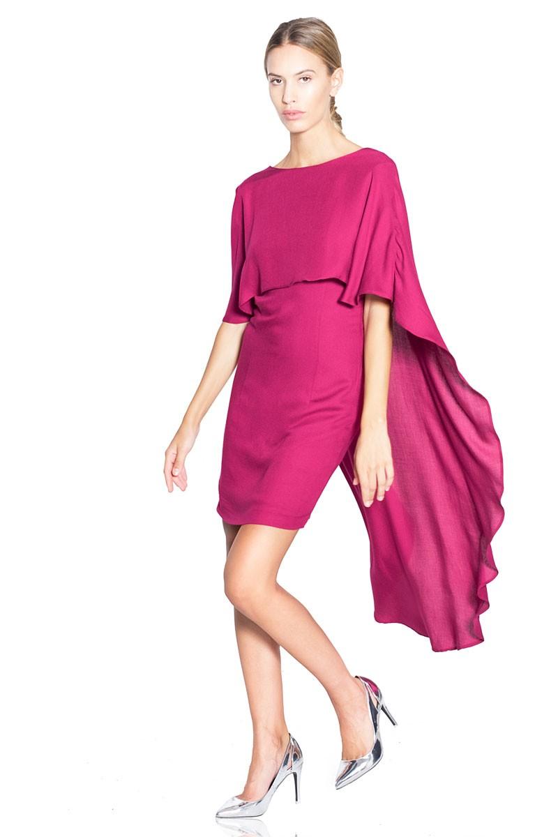Short fuchsia dress with coat