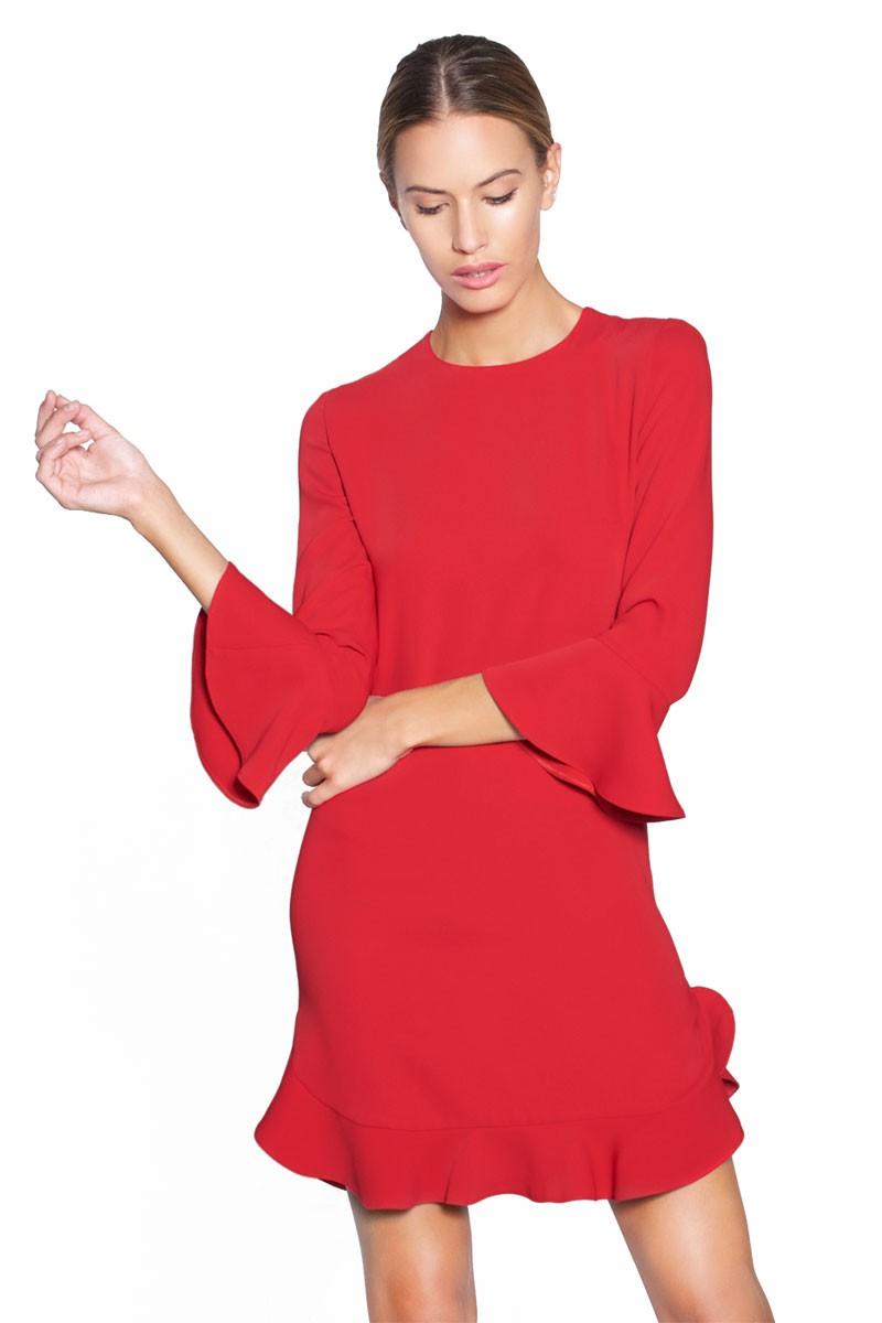 84b760fffc6 vestido corto rojo fiesta volantes felipe albernaz apparentia