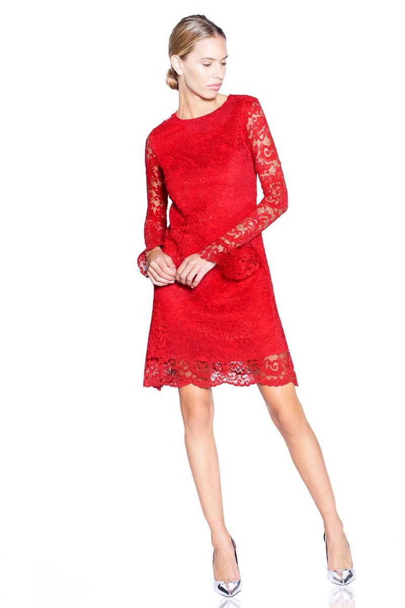 Vestido Rojo Encaje Fiesta