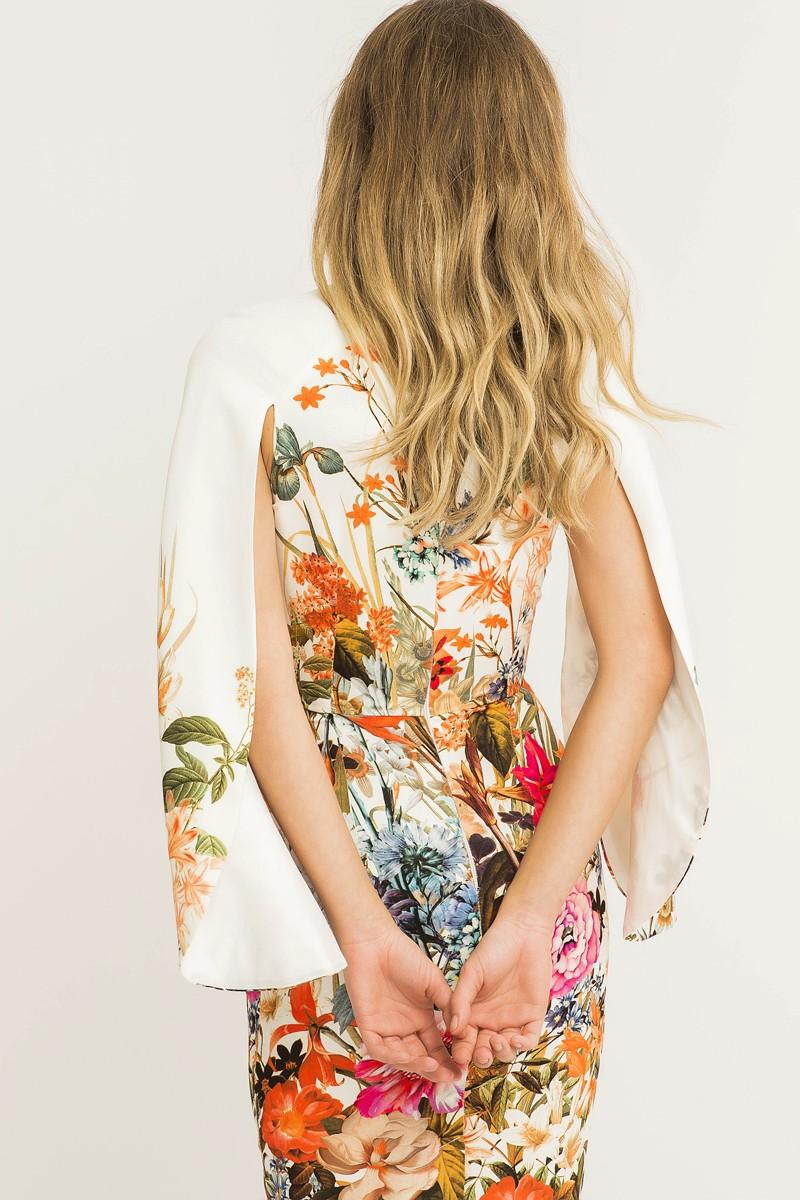 e0a4eb323 Vestido corto de fiesta con flores y mangas abiertas efecto capa para  invitadas de boda fiesta