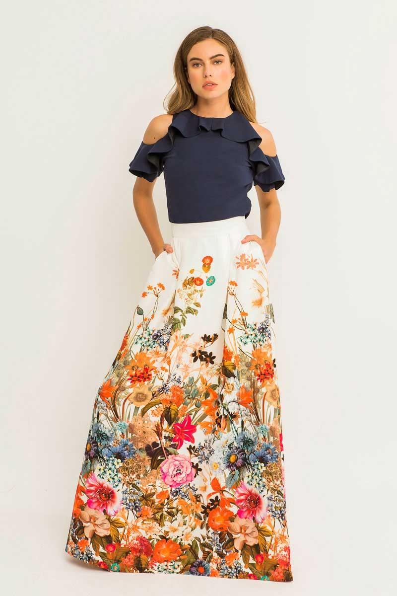 Falda larga fluida blanca estampada ajustada a la cintura para invitada de boda madrina novias originales eventos de dia bodas de tarde fiesta coctel