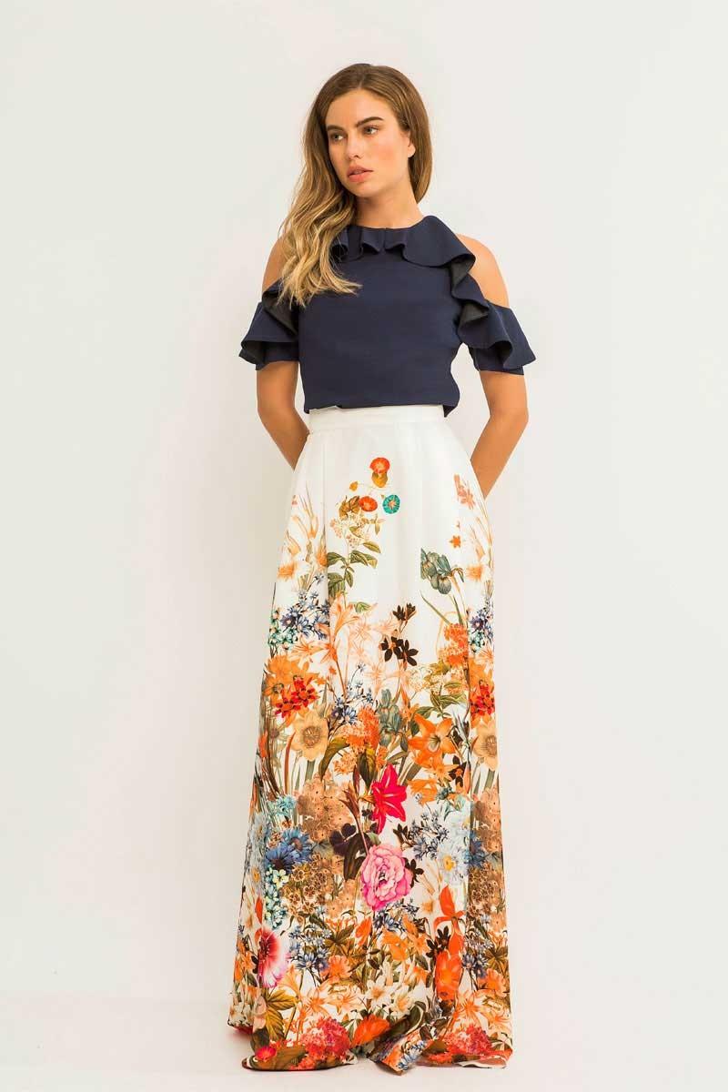 9cd5d6736b Maxi falda fluida larga blanca con estampado flores para invitada de boda  comunion bautizo fiesta de