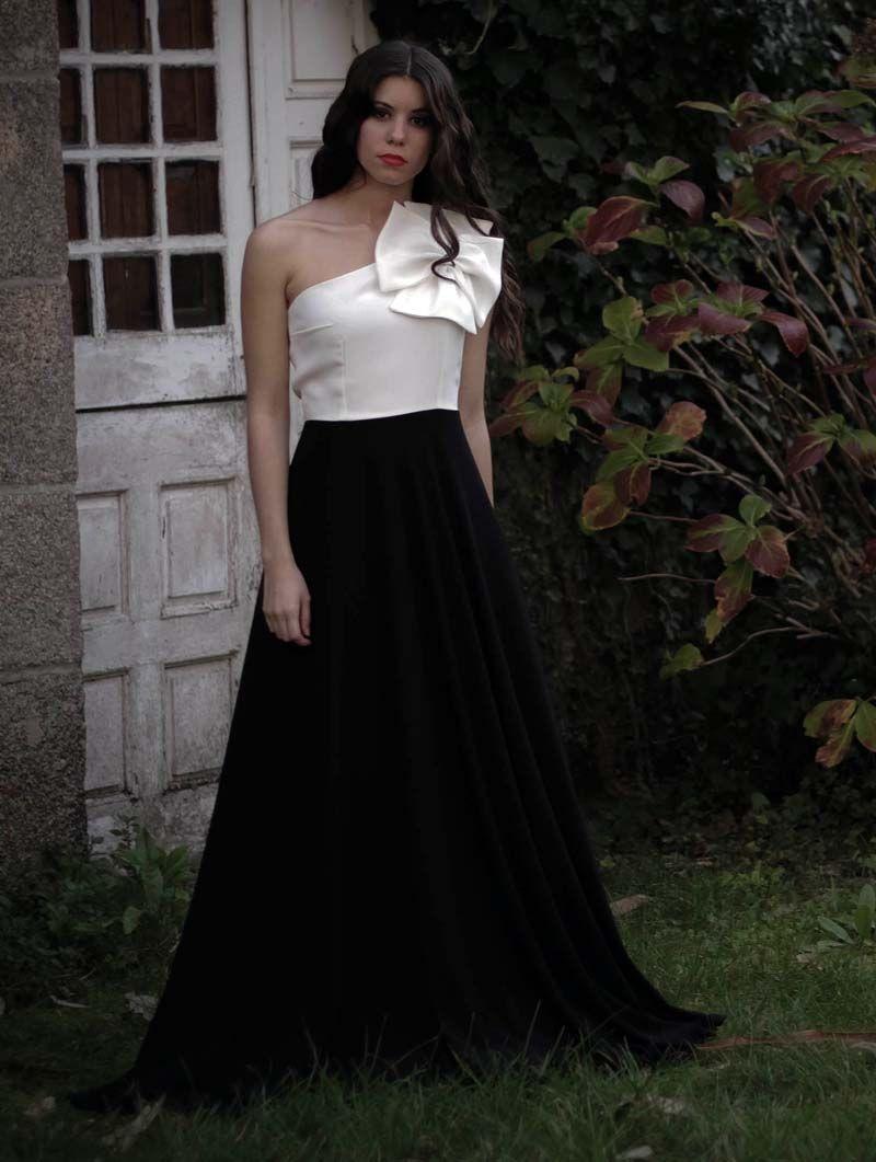 Vestido coctel blanco con negro