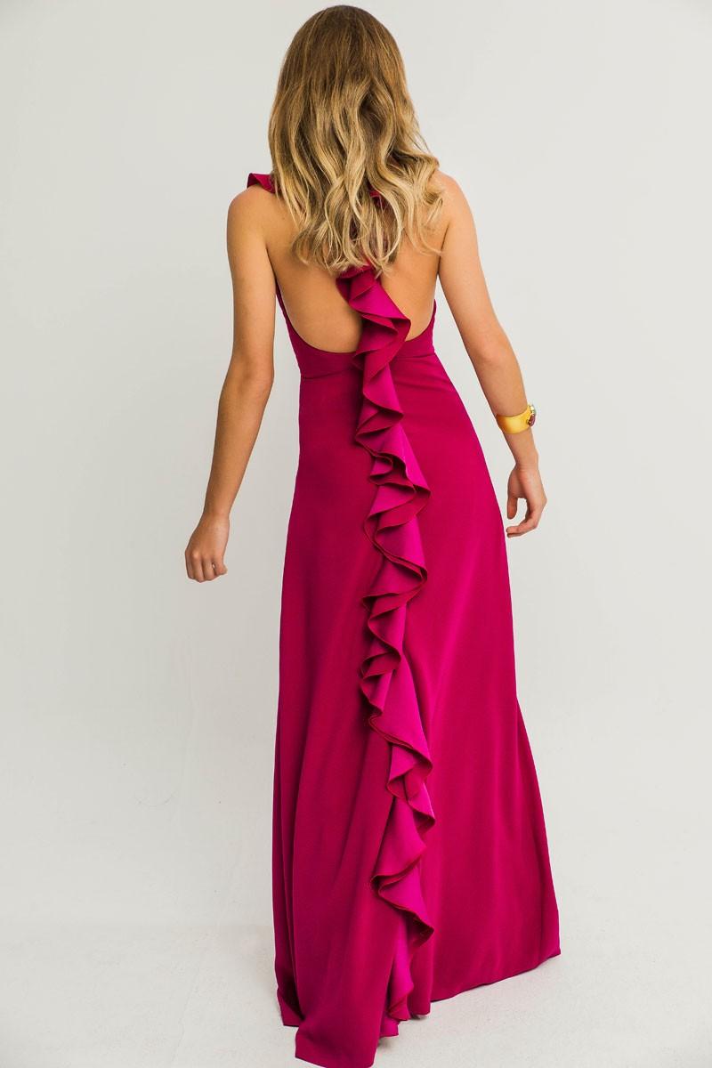 f73552ab4cc Comprar online vestido largos con la espalda abierta volantes frambuesa  ajustado sin mangas crepe para invitada