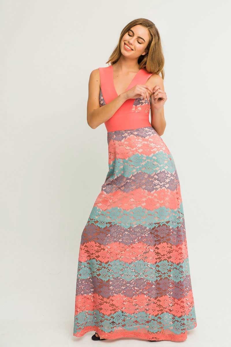 101457132 Vestido largo encaje colores pastel con cintura ajustada y escote en uve  para invitada de boda