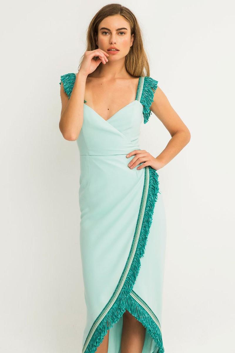 elegante y elegante mayor selección de muy genial Vestido Midi Pasamanería Flecos Kara
