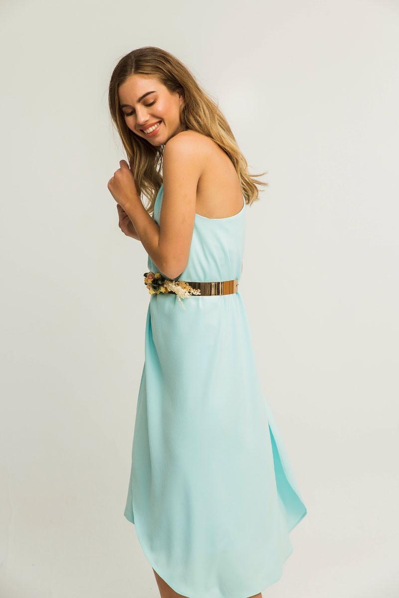 a1ec5ff38 vestido corto de fiesta azul con capa invitadas para boda eventos  comuniones bautizos graduacion compran online