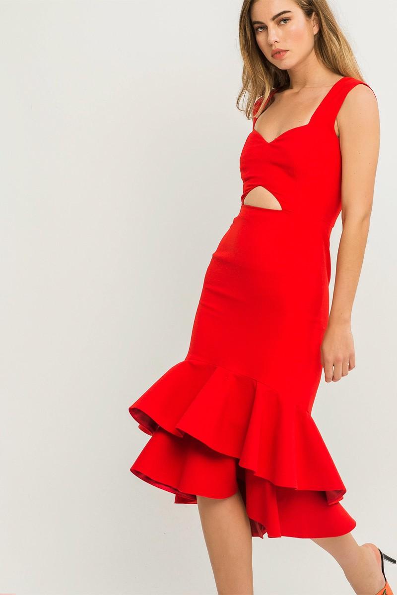 8e6579aaa9 Comprar online vestido de fiesta rojo corto con volantes y tirantes espalda  abierta para invitada de