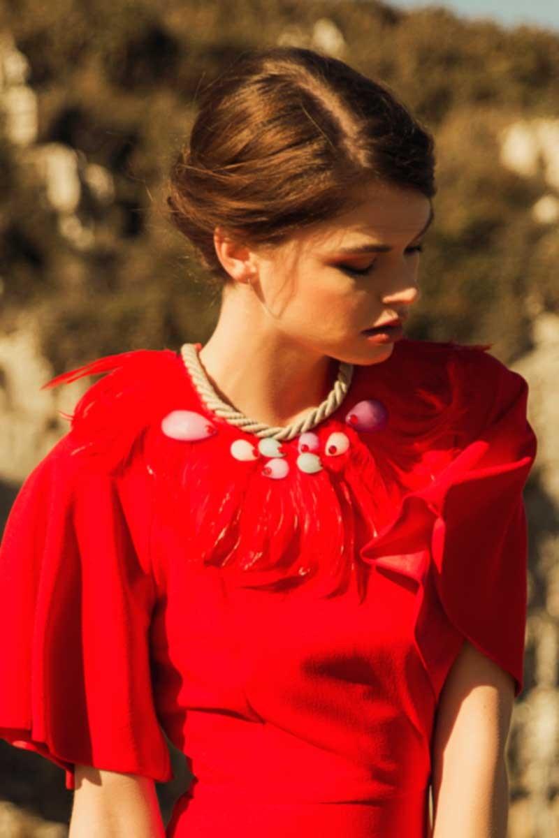 869a428d7b Vestido rojo de fiesta para invitada de boda madrina dama de honor fiesta de  noche nochevieja