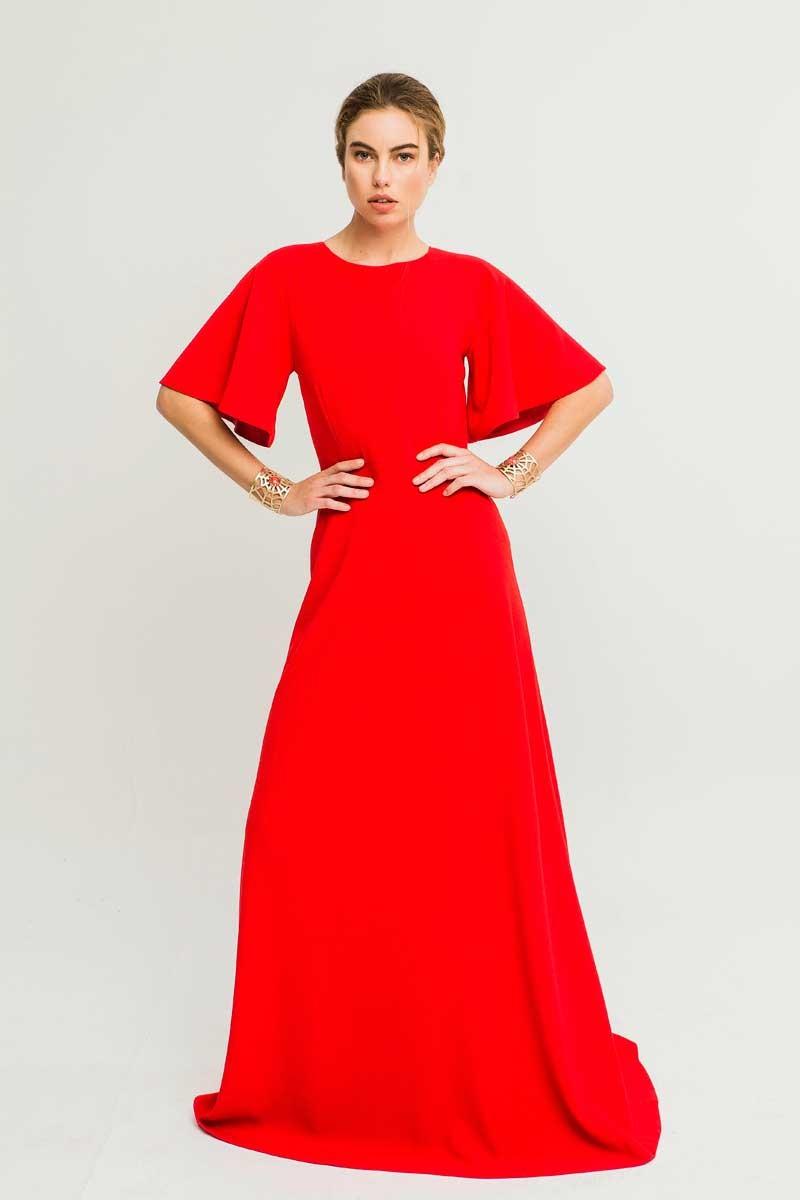 da121e810c Shoponline vestido largo de manga acampanada y crepe rojo para invitada de  boda de verano madrina