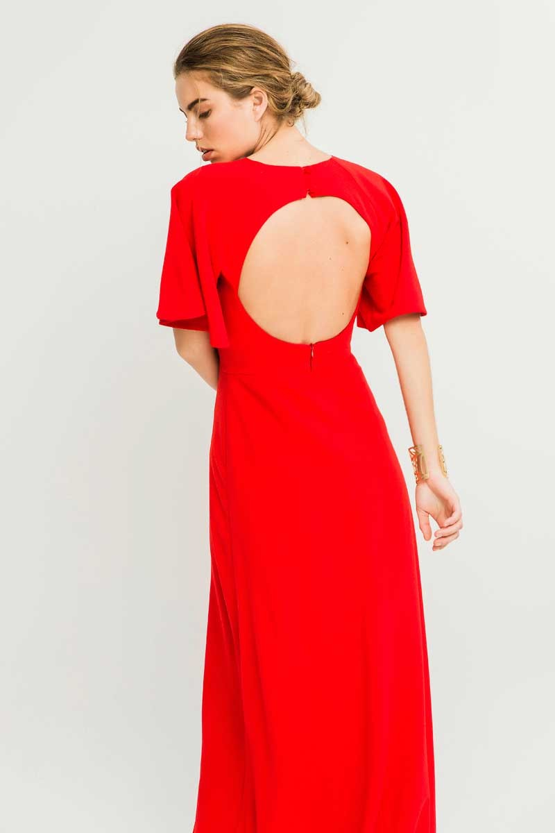 46bcfbe617 Comprar online vestido largo rojo con espalda abierta y manga corta para  invitada de boda de