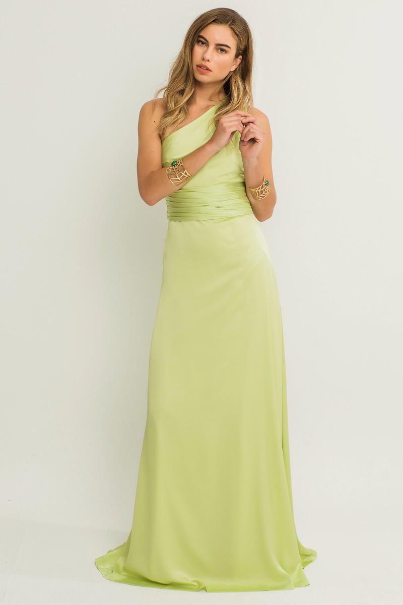 Vestido de noche verde pistacho