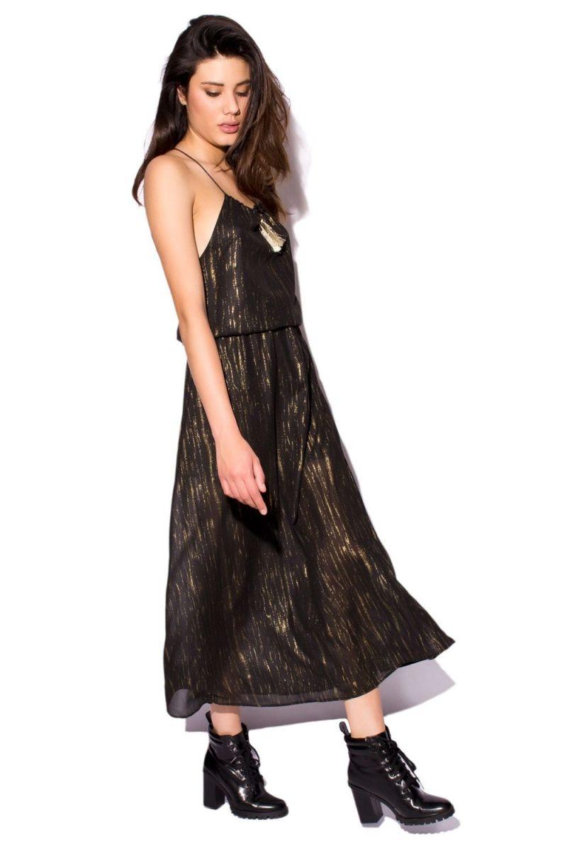 Vestido Largo Tirantes Negro Y Oro