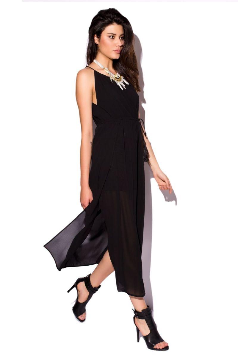Vestido negro tirantes largo