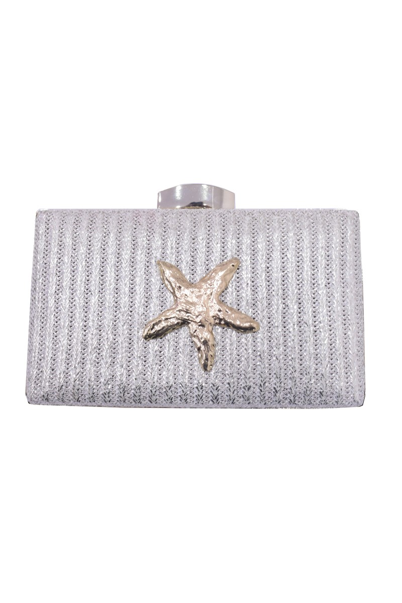 ahorrar b6c57 82bf8 Clutch de Rafia Metalizada con Estrella de Mar Dorada