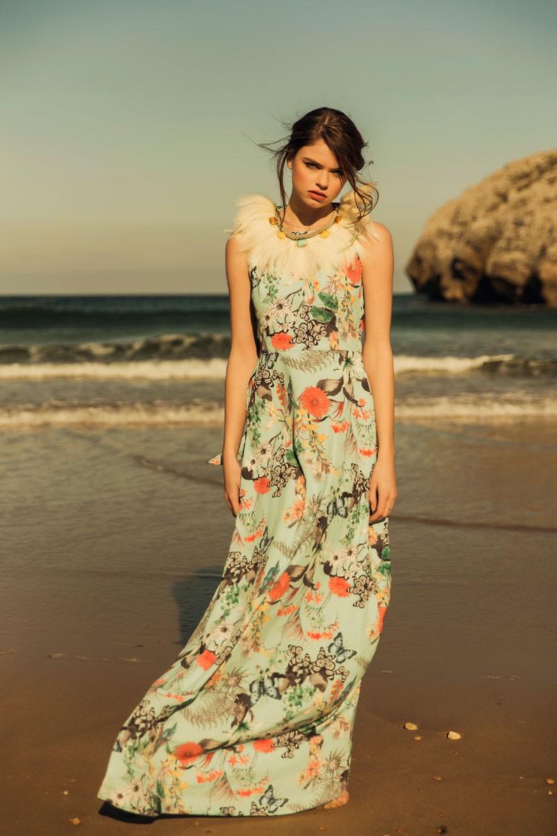 Vestido Largo Crepe Vuelo Mariposas Flores Lazada Espalda