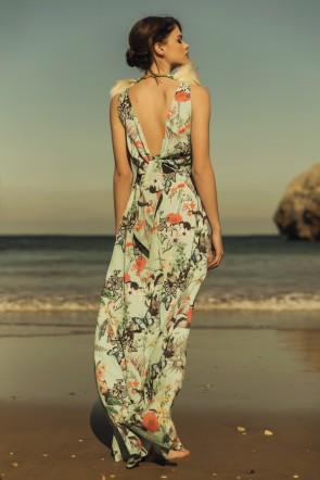 633902558 Comprar online vestido de fiesta largo estampado mariposas y flores con  lazada en espalda para invitada