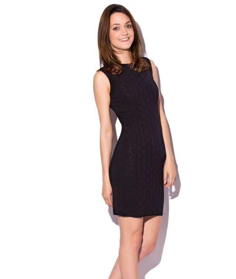f1f64607d Vestido ajustado negro de punto calado con Escote redondo sin