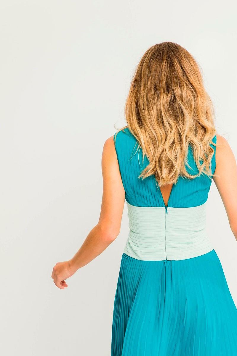 Vestido Plisado Fajin Cruzado Aurora