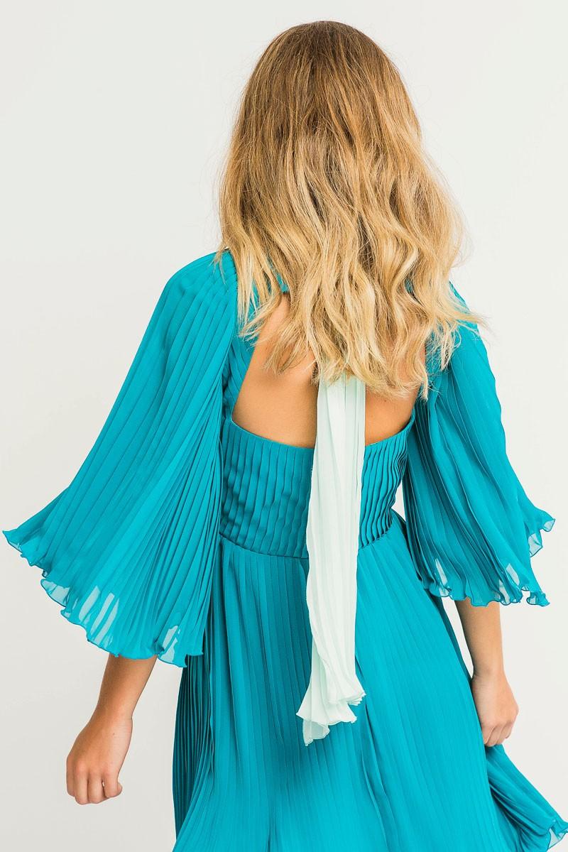 4b61ae08e vestido corto azulado verde de fiesta para invitadas de bodas bautizos con  lazada y manga ranglas