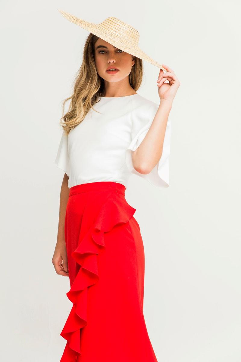 a2de6e545 falda roja fiesta invitadas para bodas eventos bautizos apparentia midi  shopping comprar online
