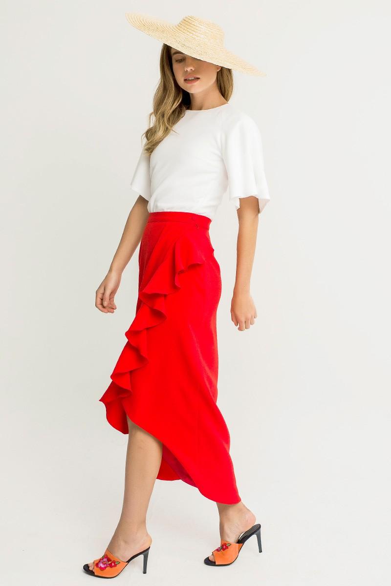 65b0b9d6e64c3 comprar online faldas de fiesta midi asimetricas para invitada de boda  bautizo comunion eventos fiesta cena