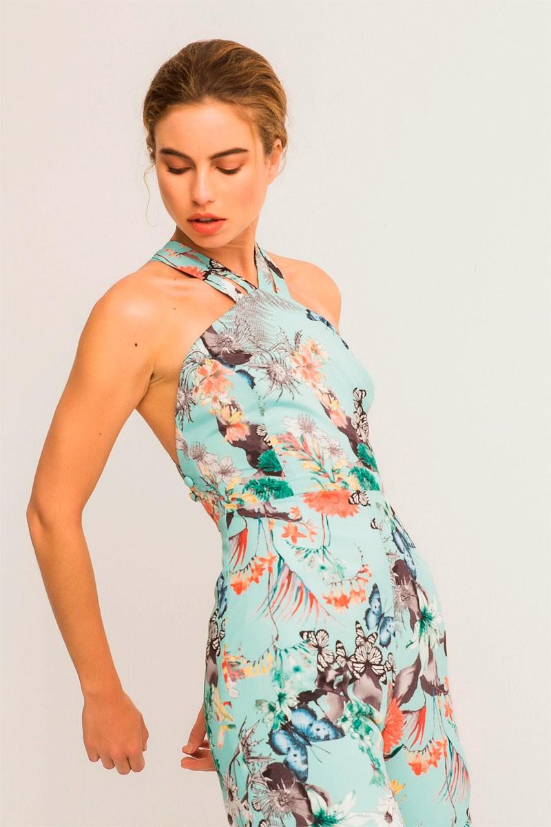 d1add72027970 Comprar online mono largo azul con estampado de mariposas y tirantes  cruzados espalda para invitada de