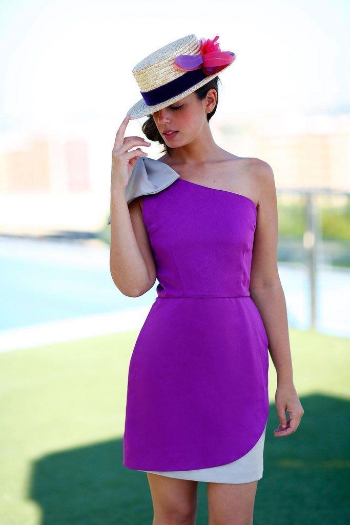 vestido fiesta corto Alena bicolor morado y topo asimetrico con