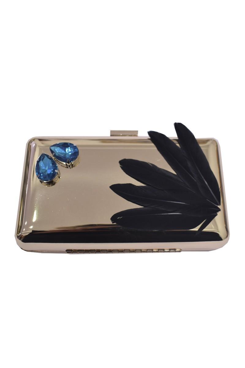 a4f06bc6c4d bolso de fiesta laton dorado con plumas de ganso negras y piedras azules  para invitada boda