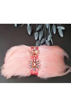 clutch base dorada con plumas rosas base dorada piedras rosa claro ambar  blanco bolsos de fiestas · Apparentia Collection 7e718644a67