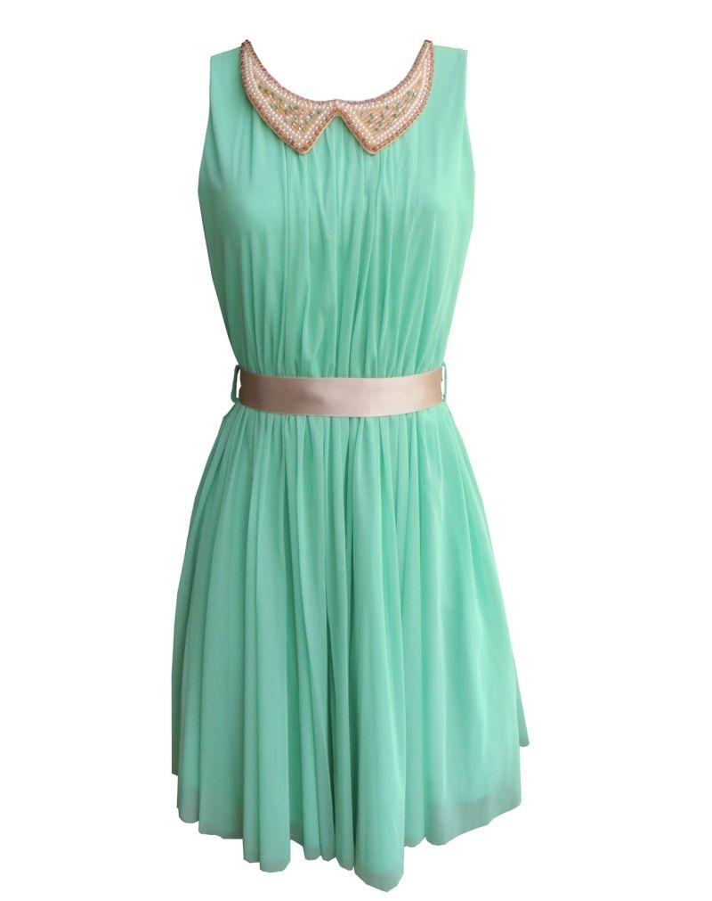Vestido corto fiesta con falda de tul color aguamarina de for Color aguamarina