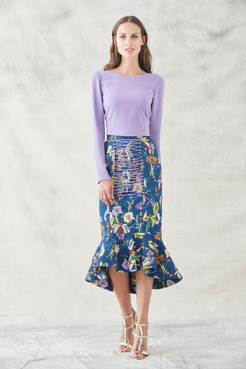 f50d05a640 omprar online falda midi ajustada confeccionada en tejido de jacquard en  fondo de color azul oscuro