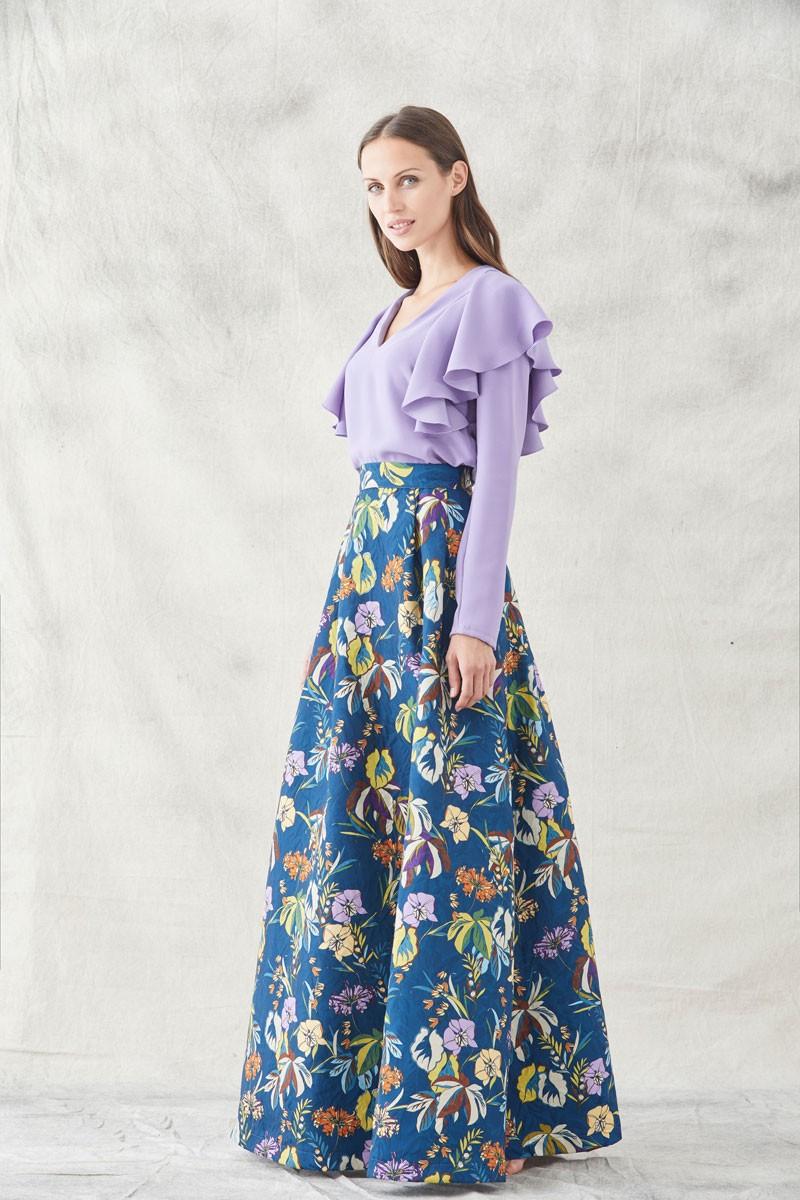 515f0b3e5 falda armada estampada azul de flores ajustada en la cintura para invitadas  de boda eventos fiestas