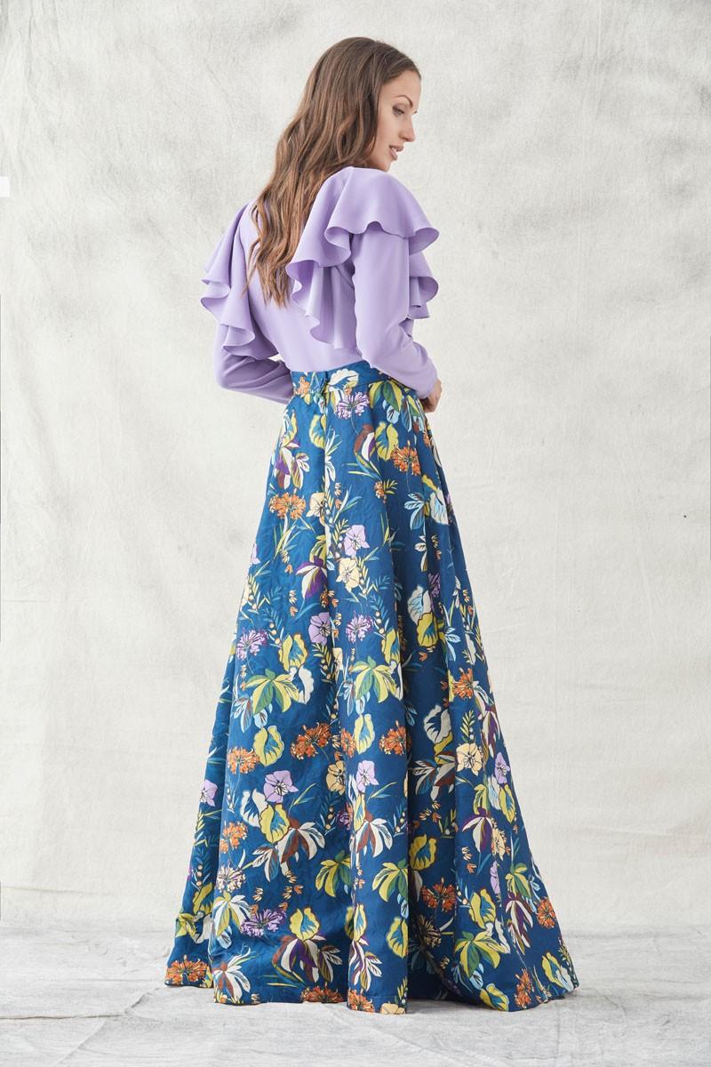 897e35180c8 falda larga armada estampada color azul oscuro con flores armadas para  eventos fiestas invitadas bodas shopping